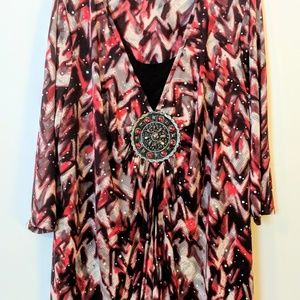 Essentials Red Holiday Sparkle Medallion Tunic 3X